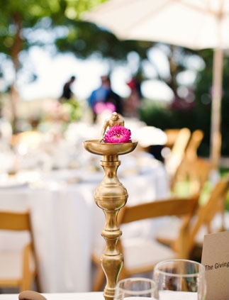 Gold candle holder on wedding table - Picture by Kate Harrison Photography