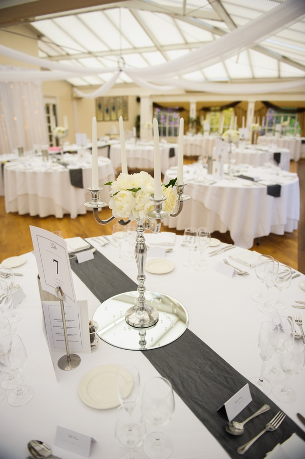Candelabra wedding table centrepiece - Picture by Pixies in the Cellar