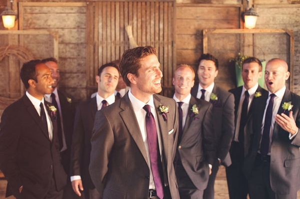 Groom and groomsmen in barn - Picture by Kate Harrison Photography