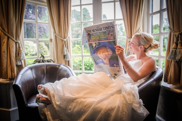Bride reading a newspaper - Picture by Pixies in the Cellar