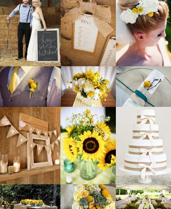 Rustic Country Wedding with Sunflowers, Billy Buttons and Hessian