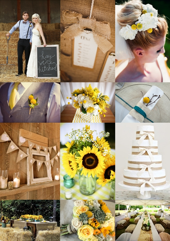 Rustic Country Wedding With Sunflowers Billy Buttons And Hessian