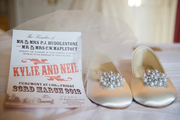 Wedding invitation and wedding shoes - Picture by Gareth Squance Photography