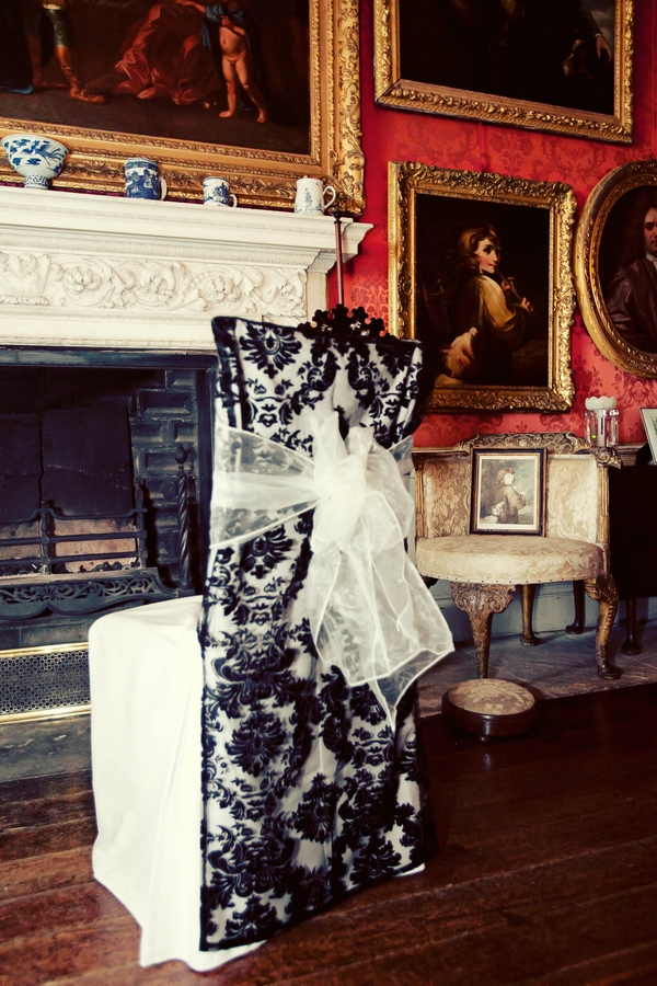 Black and white patterned chair cover - Gothic Wedding Photo Shoot at Browsholme Hall