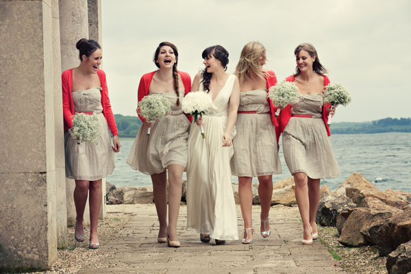 Bride walking with bridesmaids - A Homemade Marquee Wedding