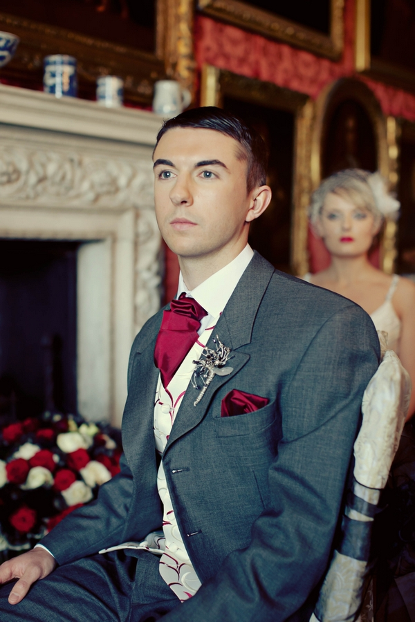 Groom with grey suit and red cravat - Gothic Wedding Photo Shoot at Browsholme Hall