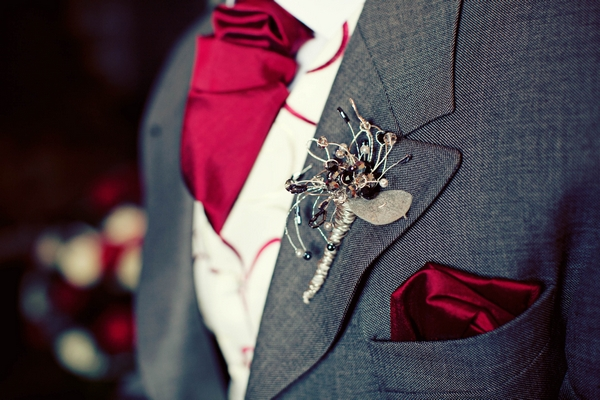 Crystal buttonhole and red cravat - Gothic Wedding Photo Shoot at Browsholme Hall