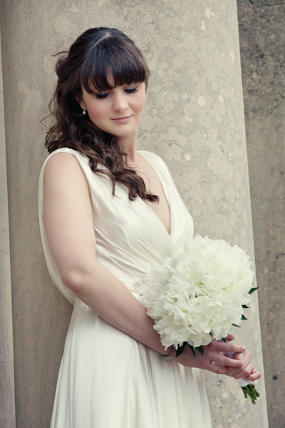Bride holding bridal bouquet - A Homemade Marquee Wedding