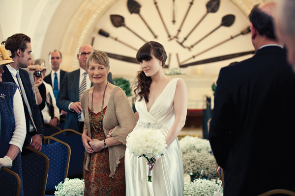 Bride and mother entering wedding ceremony - A Homemade Marquee Wedding