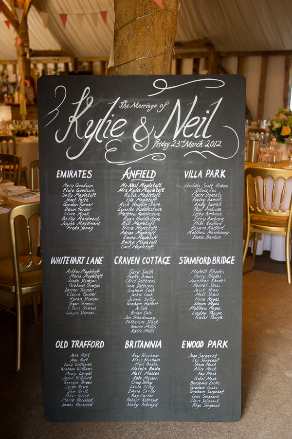 Chalkboard wedding table plan - Picture by Gareth Squance Photography