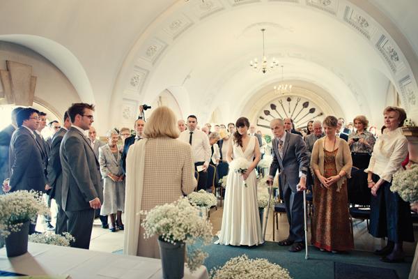 Bride walking down aisle - A Homemade Marquee Wedding