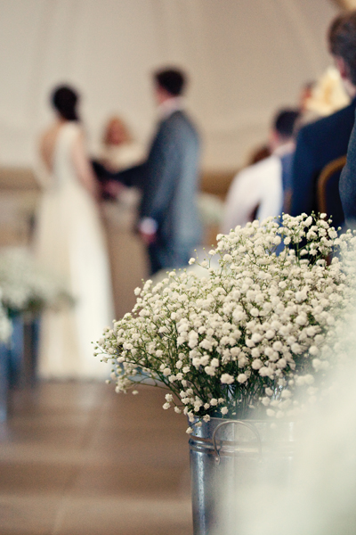 Gypsophelia wedding flowers in church - A Homemade Marquee Wedding