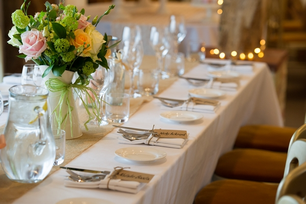 Rows of wedding place settings - Picture by Gareth Squance Photography