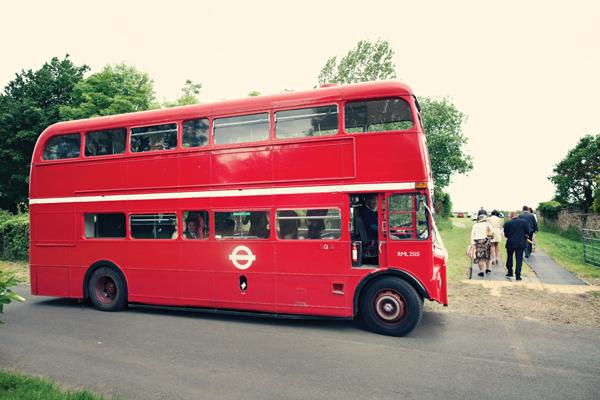 Red double decker wedding bus - A Homemade Marquee Wedding