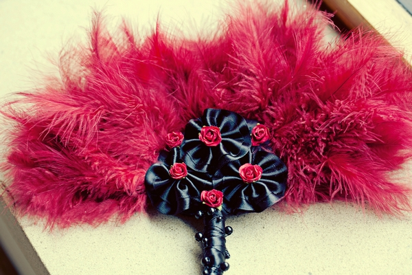 Red and black feather bridal bouquet - Gothic Wedding Photo Shoot at Browsholme Hall