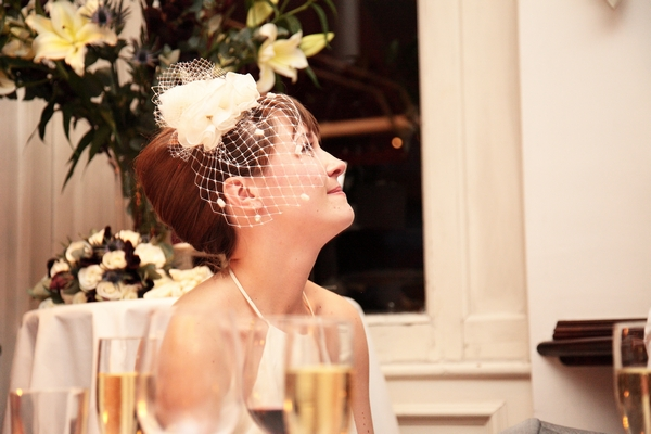Bride looking up and smiling - Picture by Rebecca Prigmore Photography