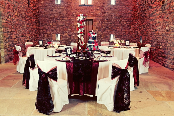 Red and black wedding table decorations - Gothic Wedding Photo Shoot at Browsholme Hall