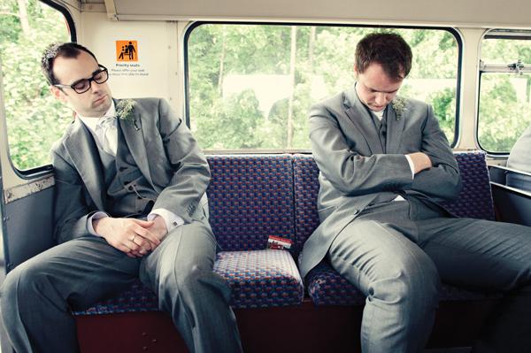 Groomsmen asleep on back seat of bus - A Homemade Marquee Wedding