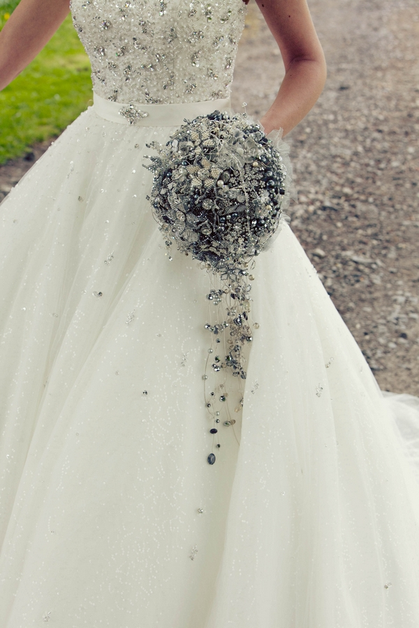 Crystal brooch bridal bouquet - Gothic Wedding Photo Shoot at Browsholme Hall