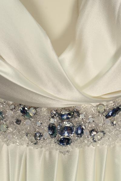 Crystal embellishment on wedding dress - A Homemade Marquee Wedding