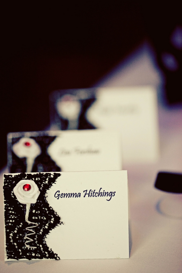 Black and white wedding place cards - Gothic Wedding Photo Shoot at Browsholme Hall