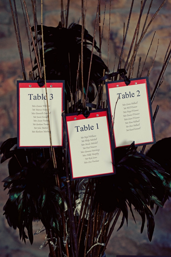 Red and black wedding table numbers - Gothic Wedding Photo Shoot at Browsholme Hall