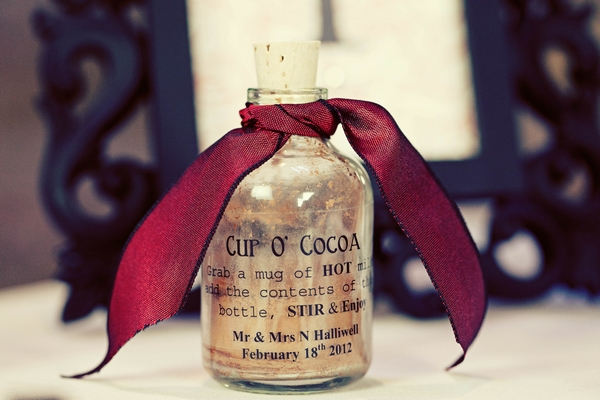 Medicine bottle of hot chocolate powder wedding favour - Gothic Wedding Photo Shoot at Browsholme Hall