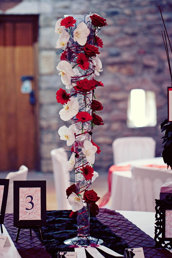 Red and white wedding table flower centrepiece - Gothic Wedding Photo Shoot at Browsholme Hall
