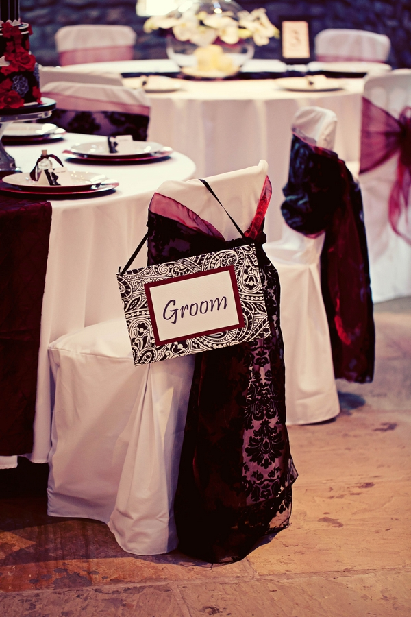 Wedding chair with groom sign - Gothic Wedding Photo Shoot at Browsholme Hall