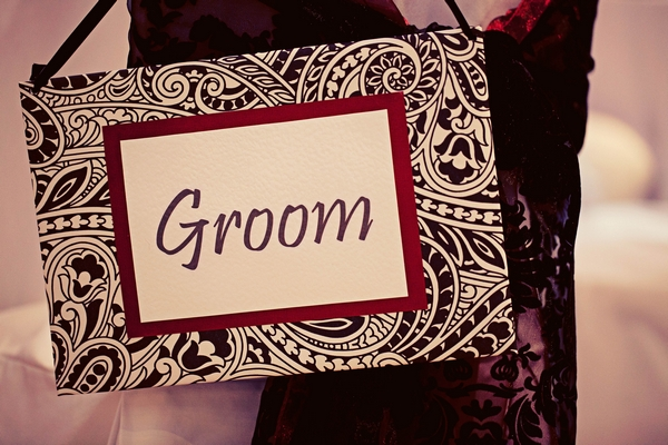 Back, white and red groom sign - Gothic Wedding Photo Shoot at Browsholme Hall