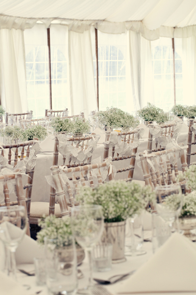 Wedding chairs and tables in marquee - A Homemade Marquee Wedding