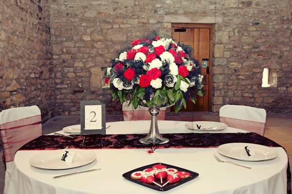 Red, black and white themed wedding table - Gothic Wedding Photo Shoot at Browsholme Hall