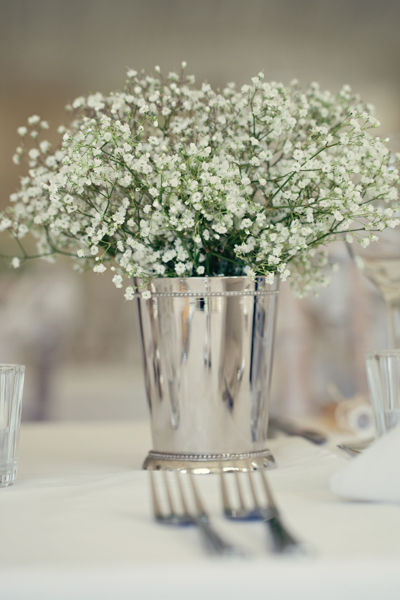 Gypsophelia wedding table flowers - A Homemade Marquee Wedding