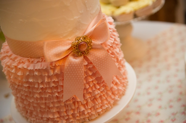 Peach coloured wedding cake - Picture by Gareth Squance Photography