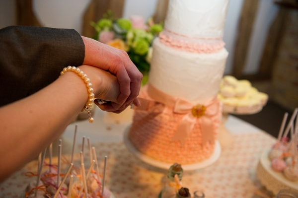 Bride and groom's hands holding knife to cut cake - Picture by Gareth Squance Photography