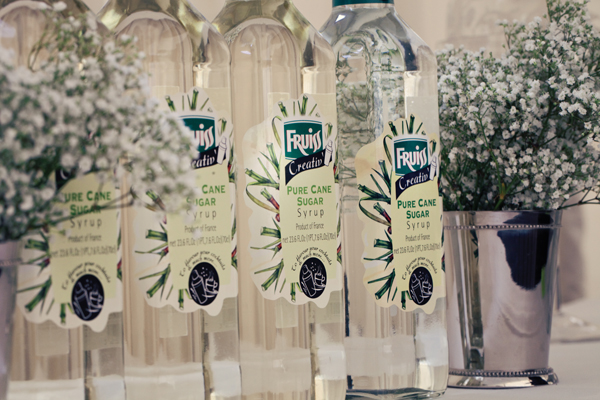 Bottles of sugar syrup - A Homemade Marquee Wedding
