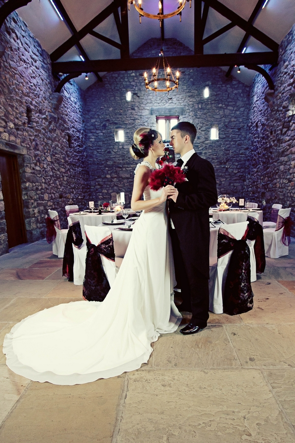 Bride and groom in barn - Gothic Wedding Photo Shoot at Browsholme Hall