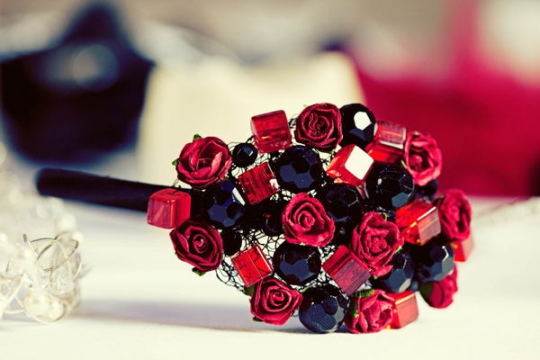 Red and black jewel bridal bouquet - Gothic Wedding Photo Shoot at Browsholme Hall