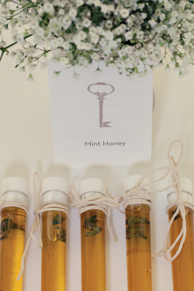Mint honey test tube wedding favours - A Homemade Marquee Wedding