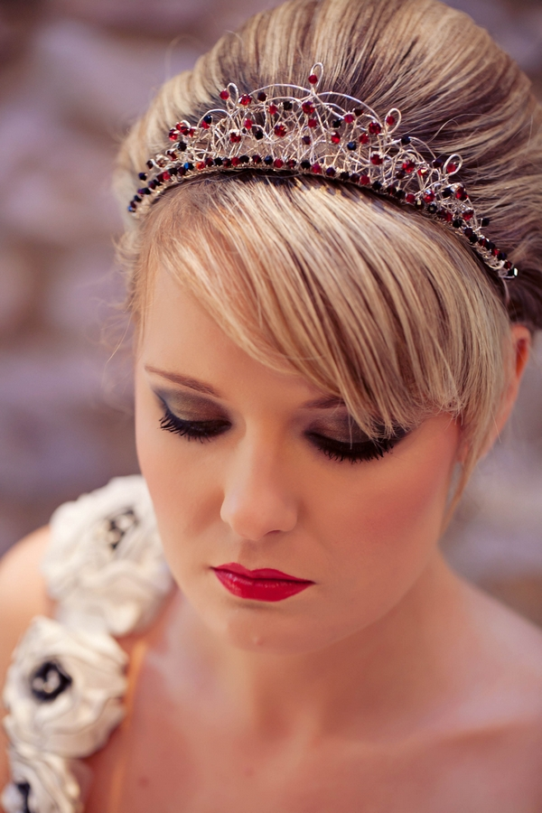 Bride with red and black tiara - Gothic Wedding Photo Shoot at Browsholme Hall