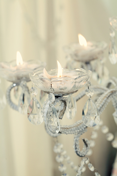Tealights on crystal holder - A Homemade Marquee Wedding