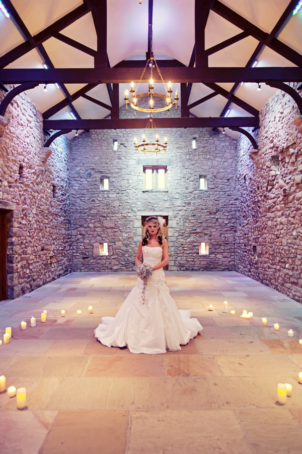 Bride standing in circle of candles - Gothic Wedding Photo Shoot at Browsholme Hall