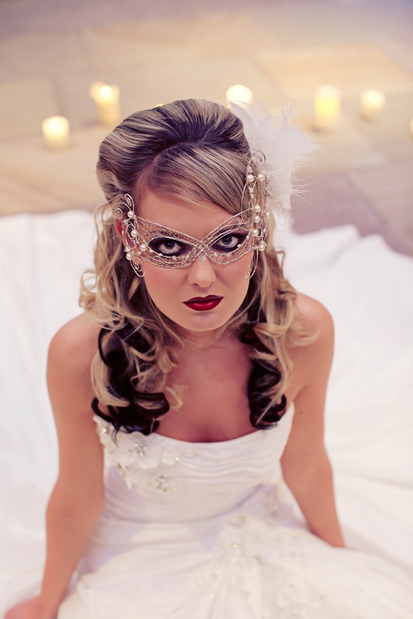 Bride wearing mask - Gothic Wedding Photo Shoot at Browsholme Hall