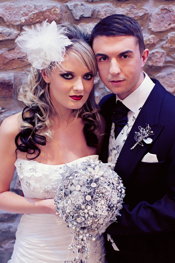 Gothic bride and groom with brooch bouquet - Gothic Wedding Photo Shoot at Browsholme Hall