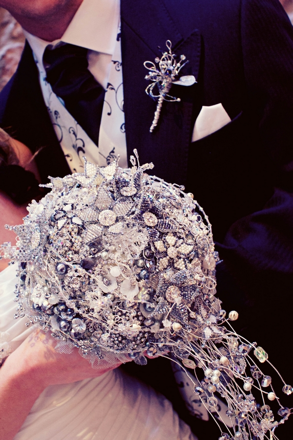 Brooch bouquet - Gothic Wedding Photo Shoot at Browsholme Hall