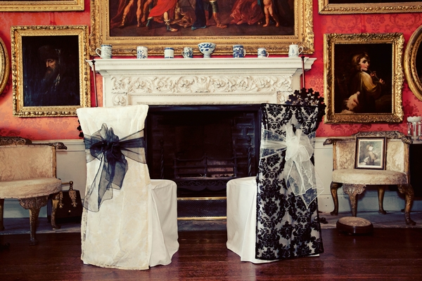 Black and white chair covers on chairs - Gothic Wedding Photo Shoot at Browsholme Hall