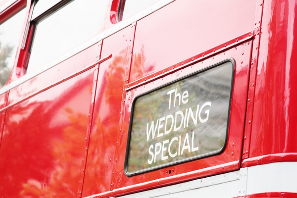 The Wedding Special Sign on red bus - Picture by Rebecca Prigmore Photography