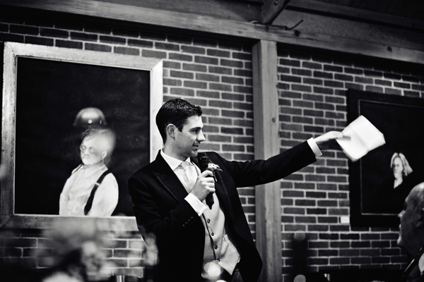 Black and whiote picture of wedding speech - Picture by Andrew JR Squires Photography