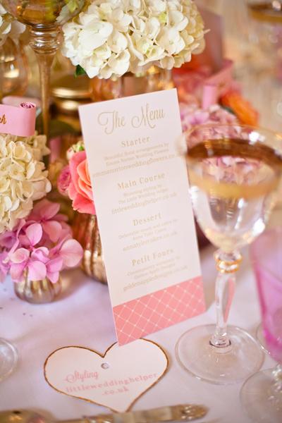 Menu on wedding table - LoveLuxe Launch