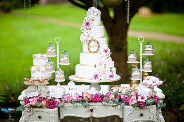 White wedding cake and cupcakes - LoveLuxe Launch